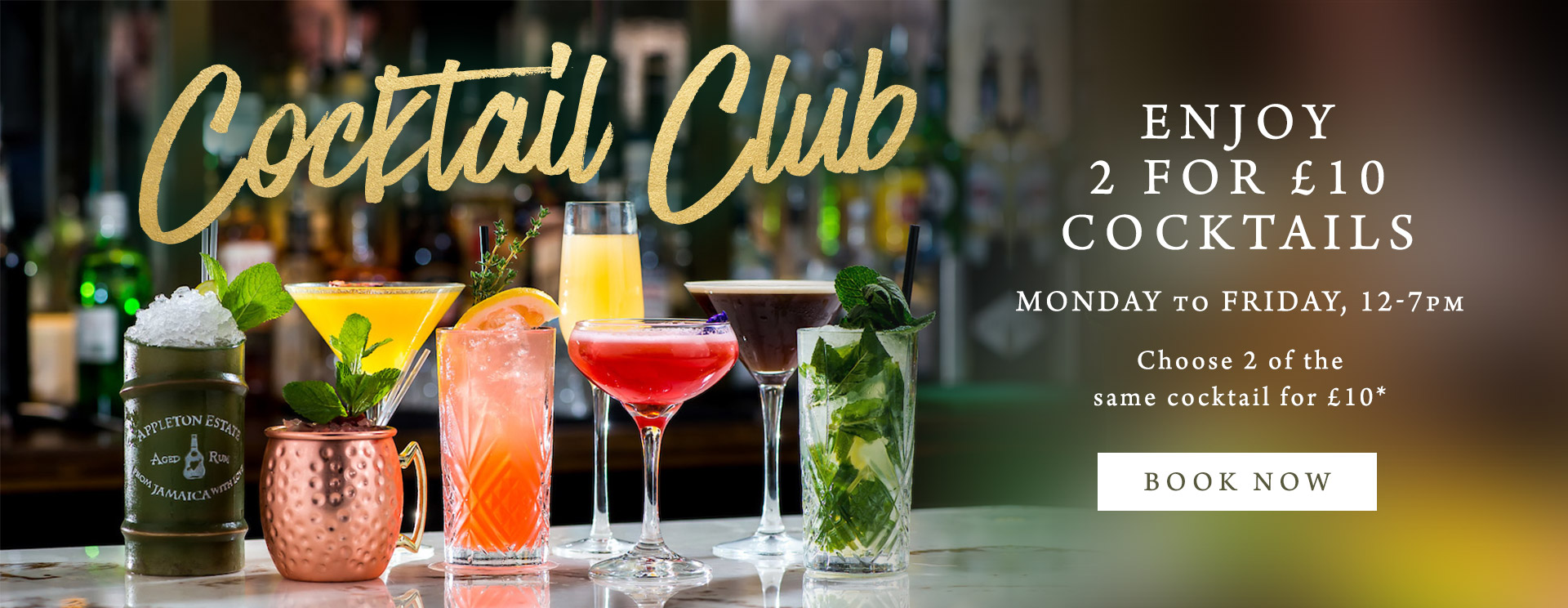 2 for £10 cocktails at The Golden Heart
